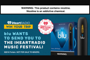 Iheart – Blu Iheartradio Music Festival Flyaway – Win a VIP flyaway trip to iHeartRadio Music Festival in Las Vegas from September 20 2019-September 22 2019 for the grand prize winner and one eligible guest who is 21 years of age or older