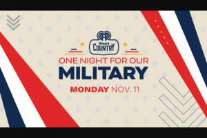 Iheart Media – 2019 Iheartcountry One Night For Our Military National Contest – Military – Win trip for two (2) to Nashville Tennessee from Wednesday November 6 2019 to Friday November 8 2019.