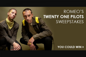 Iheart – Most Requested Live Romeo's Twenty One Pilots – Win three day/two night trip for Winner and one guest to see twenty one pilots in concert in Los Angeles California on November 1 2019.