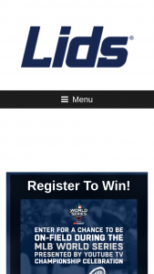 Lids & MLB – This Could Be You – Win $100 Total ARV of the Sweepstakes prizes $4999.99.