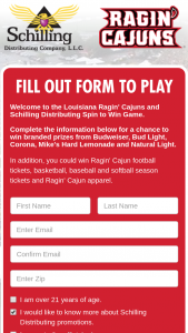 Louisiana Lafayette Schilling – Spin To Win Sweepstakes