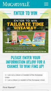 Margaritaville – Tailgate Time Giveaway Sweepstakes
