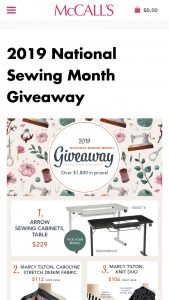 Mccall's – 2019 National Sewing Month Giveaway Sweepstakes