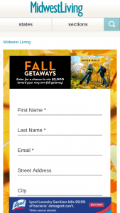 Midwest Living – Fall Getaways Sweepstakes