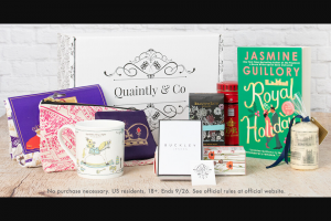 Penguin Random House – Quaintly & Royal Holiday – Win 1 ROYAL HOLIDAY by Jasmine Guillory (Prize Approximate Retail Value $20) 1 A selection of goodies from Quaintly & Co including a Royal themed charm bracelet