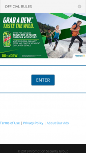 Pepsi – 2019 Mtn Dew Outdoor Adventure – Win consisting of a 3-day/2-night outdoor adventure trip for two (2) persons (winner and one (1) travel guest).