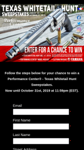 Performance Center – Texas Whitetail Hunt Sweepstakes