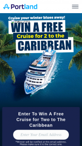 Portlandcom – Winter Blues Cruise – Win of two tickets on a 4-7  day cruise in an ocean view stateroom to the Caribbean on Carnival Cruise Line