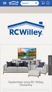 """Rc Willey – September Giveaway – Win includes a SONY Bravia 65″ 4K HDR Ultra HD Smart TV a BOSE 500 Soundbar an AVERY 97"""" TV Stand a KELSEY Mid Century Modern Sofa with matching KELSEY Chair and KELSEY Ottoman"""