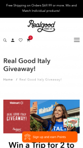 Real Good Food Company – Italy Getaway – Win the following two (2) round trip airline tickets to ITALY