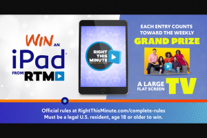 Right This Minute – Ipad – Win one (1) 32GB Apple iPad 6 with Wi-Fi (ARV $357 each).