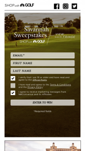 Shop With Golf – Savannah – Win will consist of one trip for Winner and one guest to Savannah Georgia