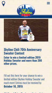 Skyline Chili -70th Birthday – Win one (1) Skyline Chili Ugly Sweater