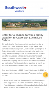 Southwest Vacations – Cabo San Lucas Sweepstakes