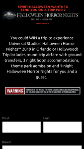 "Spirit Halloween – Halloween Horror Nights – Win will be one (1) Prize (""Prize"") awarded"