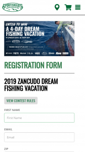Sportsman's Warehouse – 2019 Zancudo Dream Fishing Vacation – Win FOLLOWING A 4-day 5 night trip for the winner and a guest over the age of 21 The Zancudo Lodge