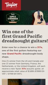 Taylor Guitars – Sapele Strummer 317e Grand Pacific – Win of one (1) Taylor 317e acoustic guitar ARV $1899.