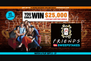 Tbs And Warner Bros – Friends 25 $25000 Sweepstakes