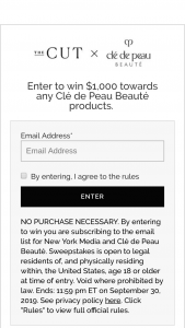 The Cut – Clé De Peau Beauté – Win a one $1000 gift card redeemable for Clé de Peau Beauté products