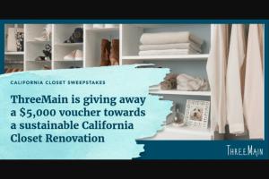 Threemain – California Closet – Win of a $5000 voucher towards a sustainable California Closet renovation