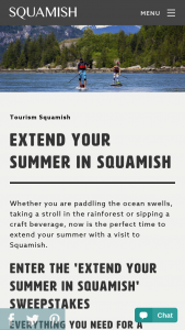 Tourism Squamish – extend Your Summer In Squamish – Win PACKAGE WORTH OVER $1800
