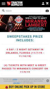 Tractor Supply Company – Neighbor's Club Exclusive Miranda Lambert Concert Giveaway – Win a trip for up to four (4) people (the confirmed Grand Prize winner and up to three [3] guests) to Orlando