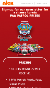 Viacom – Paw Patrol Ready Race Rescue Sweepstakes