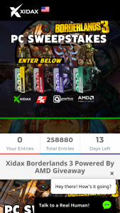 "Xidax – Borderlands 3 PC – Win grand prize will be awarded to 1 winner each consisting of 1 Xidax gaming PC (the ""Grand Prize"") Total approximate retail value (""ARV"") of all Grand Prizes is $3500.00."