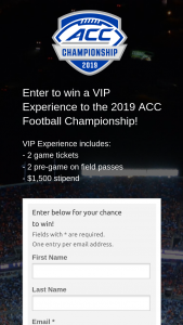 Acc – Football Championship Vip Experience Sweepstakes