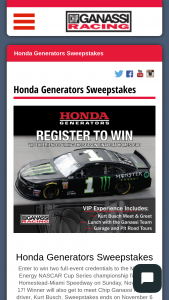 American Honda Motor – Honda Sweepstakes – vip Experience – Win prize consists of (1) Meet & Greet with a Gasnassi driver Team Tour and Dinner
