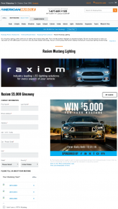 American Muscle – Raxiom $5000 Giveaway – Win $5000.00 in credit to use for the purchase of any parts and accessories available at americanmusclecom