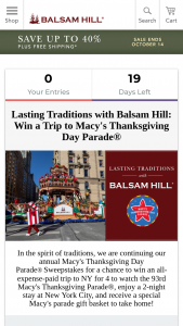 Balsam Hill – Macy's Thanksgiving Day Parade – Win trip for four to New York NY