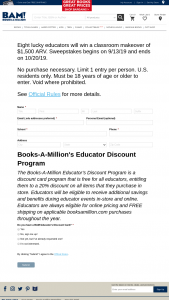 Books-A-Million – Educator Week Classroom Makeover – Win a prize of an in-kind classroom makeover (Approximate Retail Value of $1500.)