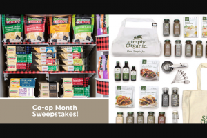 Cabot Creamery – Simply Organic Co-Op Month – Win $250 Simply Organic prize pack (ARV $250) A Year's Supply of Cabot Cheese (ARV $550) Delivered in four quarterly shipments of 25 pounds each