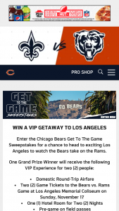 Chicago Bears – Get To The Game – Win the following prizes (collectively