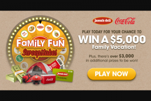 Coca-Cola – Jason's Family Deli Family Fun – Win the value of the travel voucher