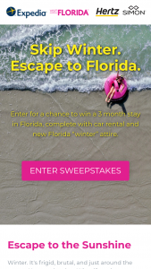 Expedia – Visit Florida – skip Winter – Win consisting of a trip for two people to Florida