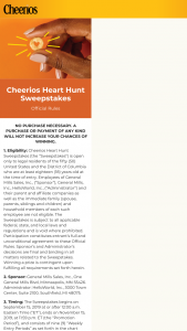 General Mills – Cheerios Heart Hunt – Win Card