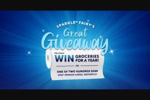 Georgia-Pacific Consumer Products – Sparkle Fairy's Great Giveaway – Win (1) GRAND PRIZE Groceries for a year awarded as a $5200 credit and one (1) year membership with Shipt (valued at $99).
