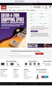 Guitar Center – Guitar-A-Thon Shopping Spree Weekly – Win Sweepstakes which is a Guitar Center Gift Card redeemable for Two Thousand Dollars ($2000.00) worth of merchandise at Guitar Center (stores online and/or call center).