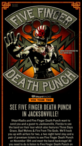 Iheart – Five Finger Death Punch In Jacksonville – Win and approximate retail value and such difference will be forfeited