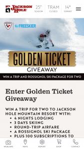 Jackson Hole – Golden Ticket Giveaway Sweepstakes