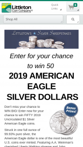 Littleton Coin – October – Win Silver American Eagles valued at $33.75 each