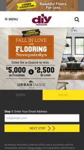 Lumber Liquidators – Fall In Love With Flooring – Win a gift certificate redeemable for $5000 in flooring products from Lumber Liquidators
