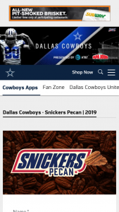 Mars Wrigley – Snickers Pecan – Win two tickets to a Dallas Cowboys home game hotel accommodations and roundtrip flight for two guests