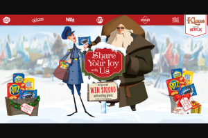 Mondelez Global – Nabisco Share Your Joy With Us – Win per prize $30 Netflix gift card 1000 $30.00  Living room décor set including (2) Blankets (2) bean bag chairs and (1) set of holiday lights
