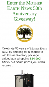 Mother Earth News – 50th Anniversary Giveaway Sweepstakes