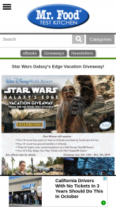 Mr Food – 2019 Star Wars Galaxy Vacation Giveaway Sweepstakes