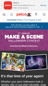 Petco – 2019 Halloween Make A Scene Photo Contest – Instagram – Win awarded to the highest overall scoring entry $10000 to be awarded in the form of a check made out to the winner
