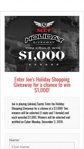 Sccy – Joe's Holiday Shopping Giveaway Sweepstakes